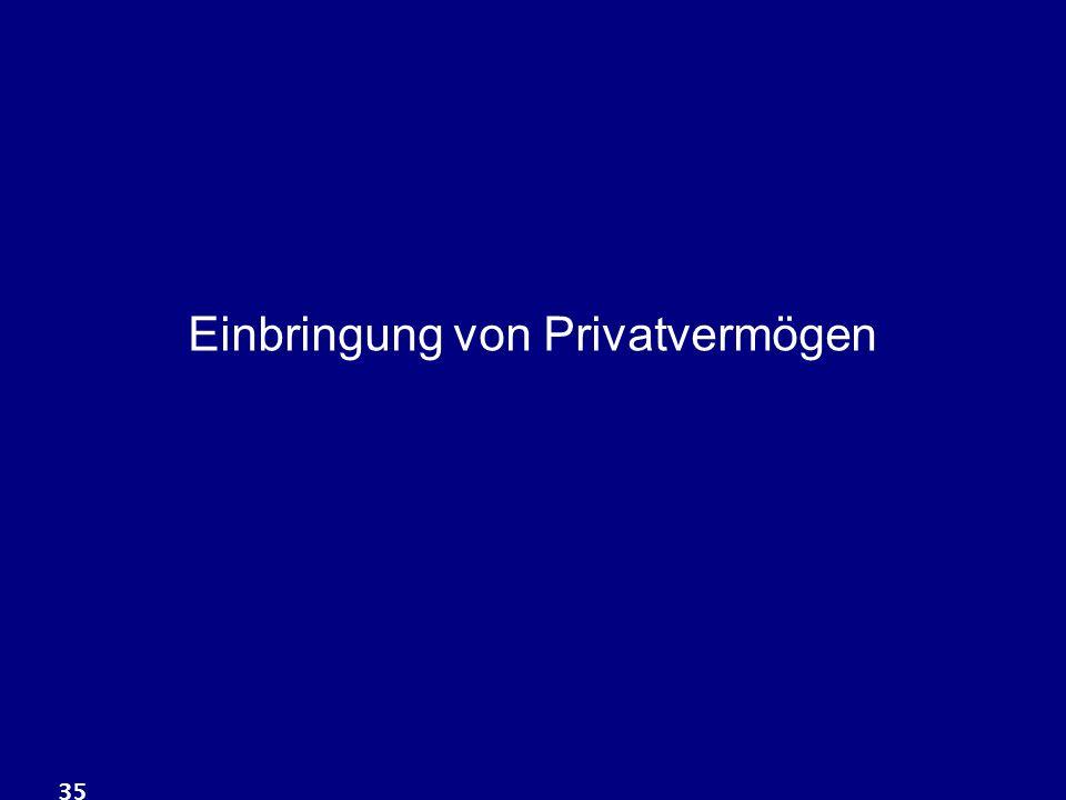 Einbringung von Privatvermögen