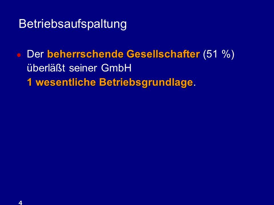 Betriebsaufspaltung Der beherrschende Gesellschafter (51 %) überläßt seiner GmbH 1 wesentliche Betriebsgrundlage.
