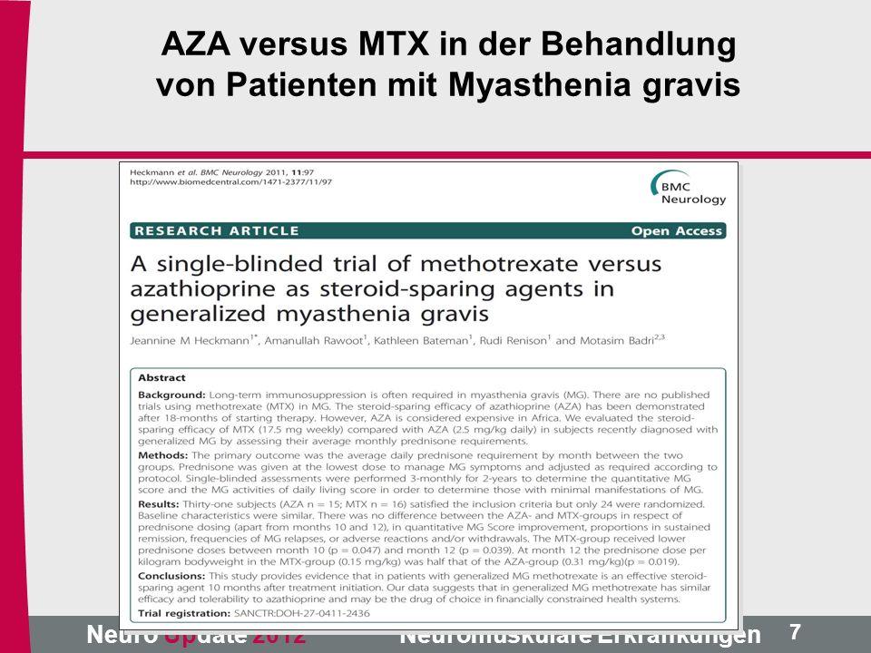 AZA versus MTX in der Behandlung von Patienten mit Myasthenia gravis