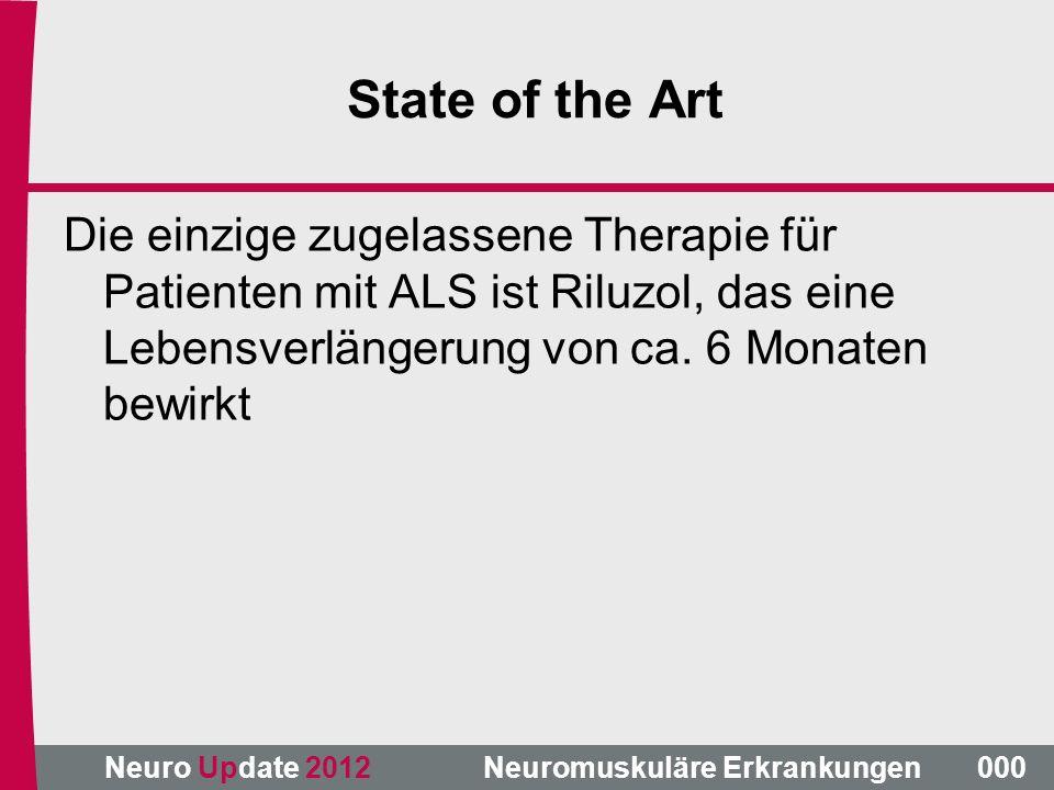 State of the Art Die einzige zugelassene Therapie für Patienten mit ALS ist Riluzol, das eine Lebensverlängerung von ca. 6 Monaten bewirkt.