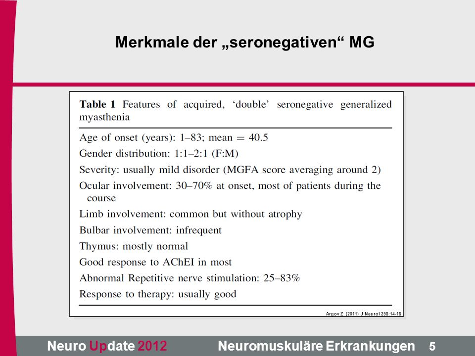 "Merkmale der ""seronegativen MG"