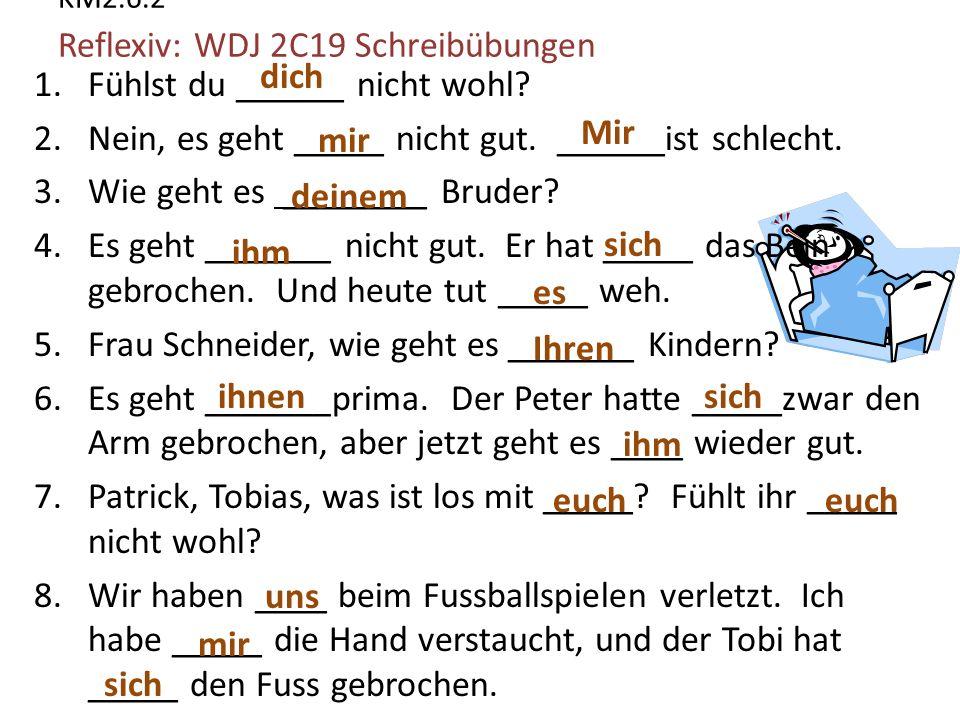 KM2.6.2 Reflexiv: WDJ 2C19 Schreibübungen