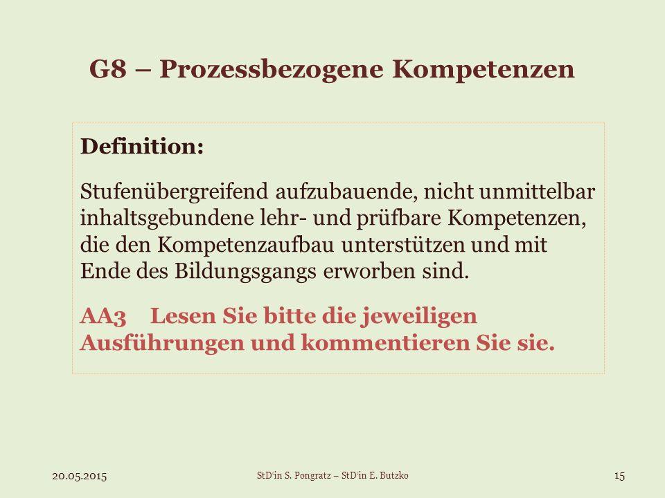 G8 – Prozessbezogene Kompetenzen