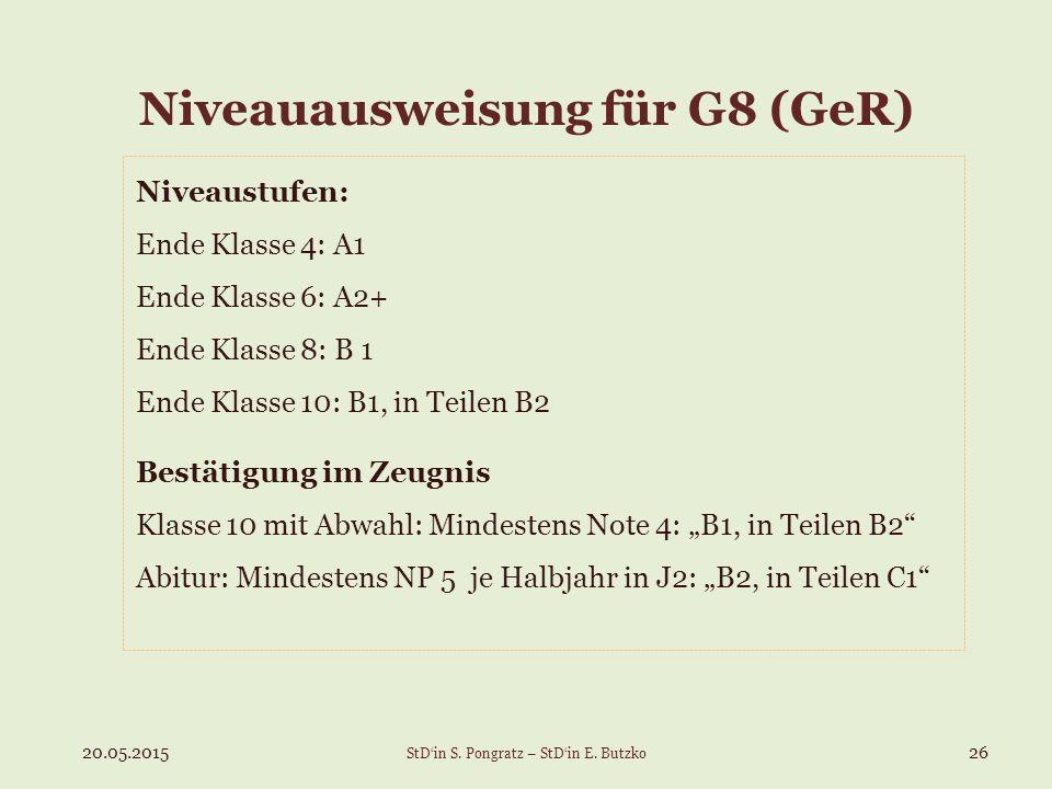 Niveauausweisung für G8 (GeR)