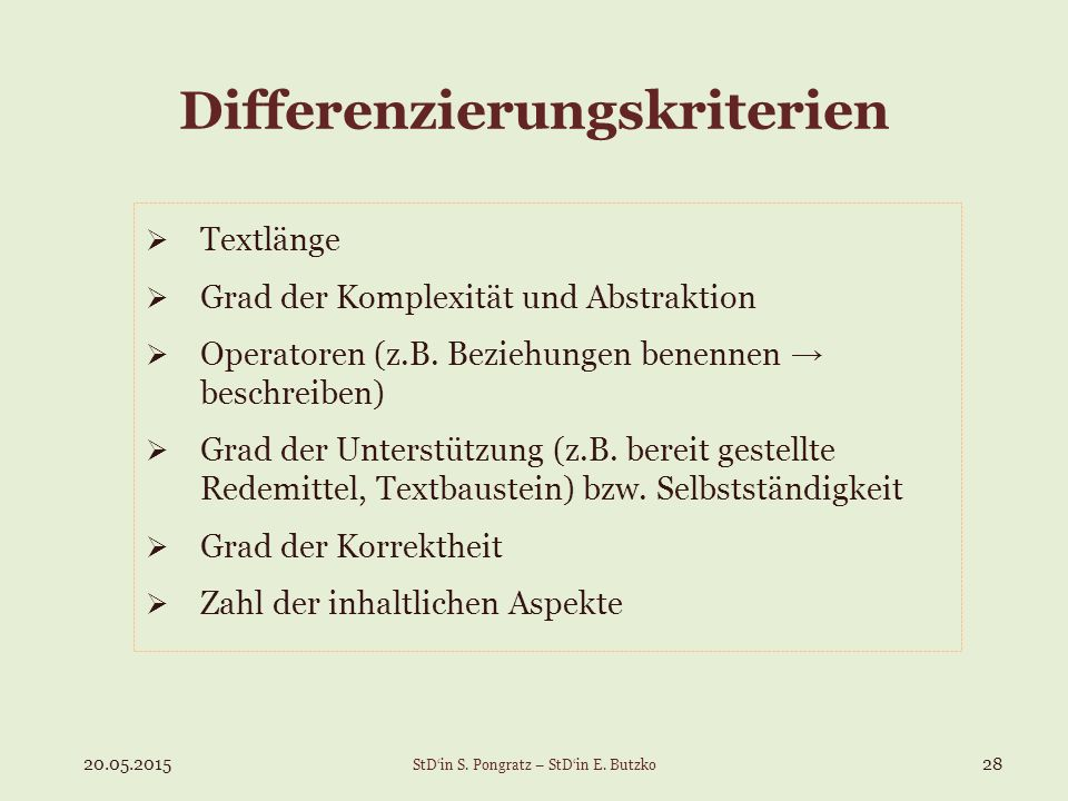 Differenzierungskriterien