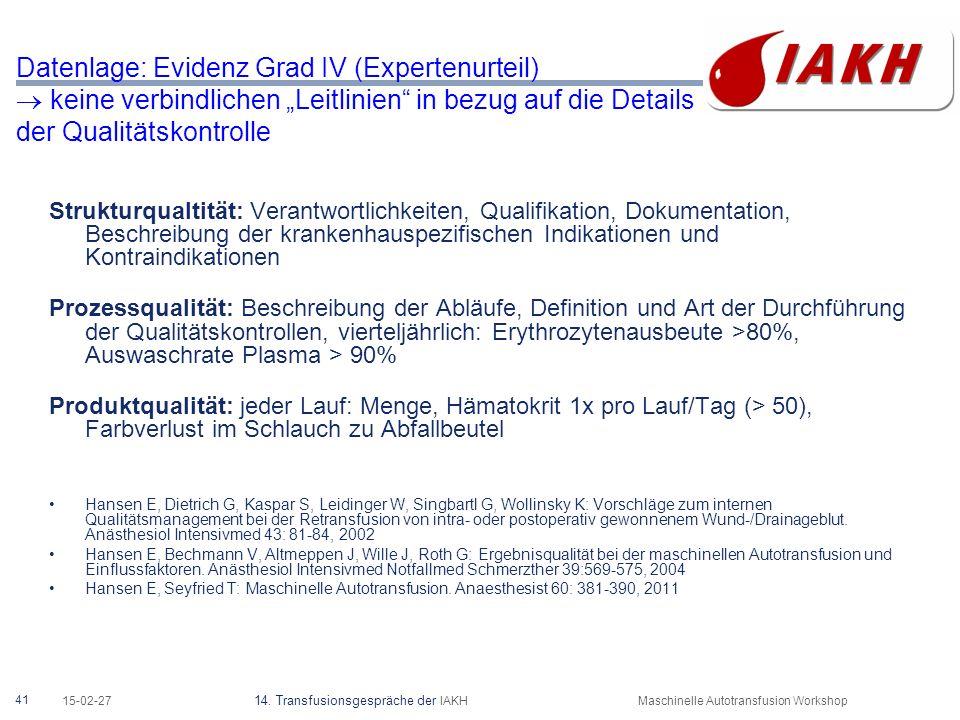 Handout für Transfusionsbeauftragte (regionaler Arbeitskreis)