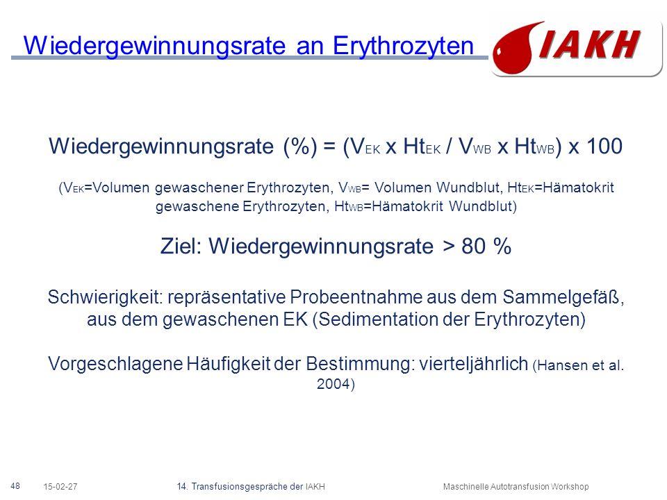 Verhältnis der retransfundierte Erys zum Anteil vom Blutverlust