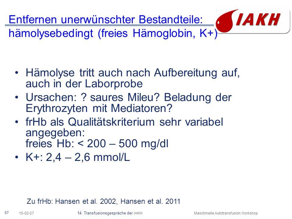 Entfernen unerwünschter Bestandteile: Freies Hämoglobin