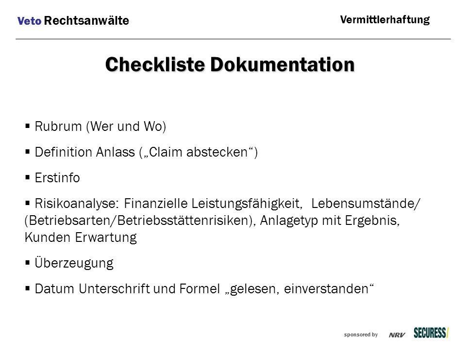 Checkliste Dokumentation