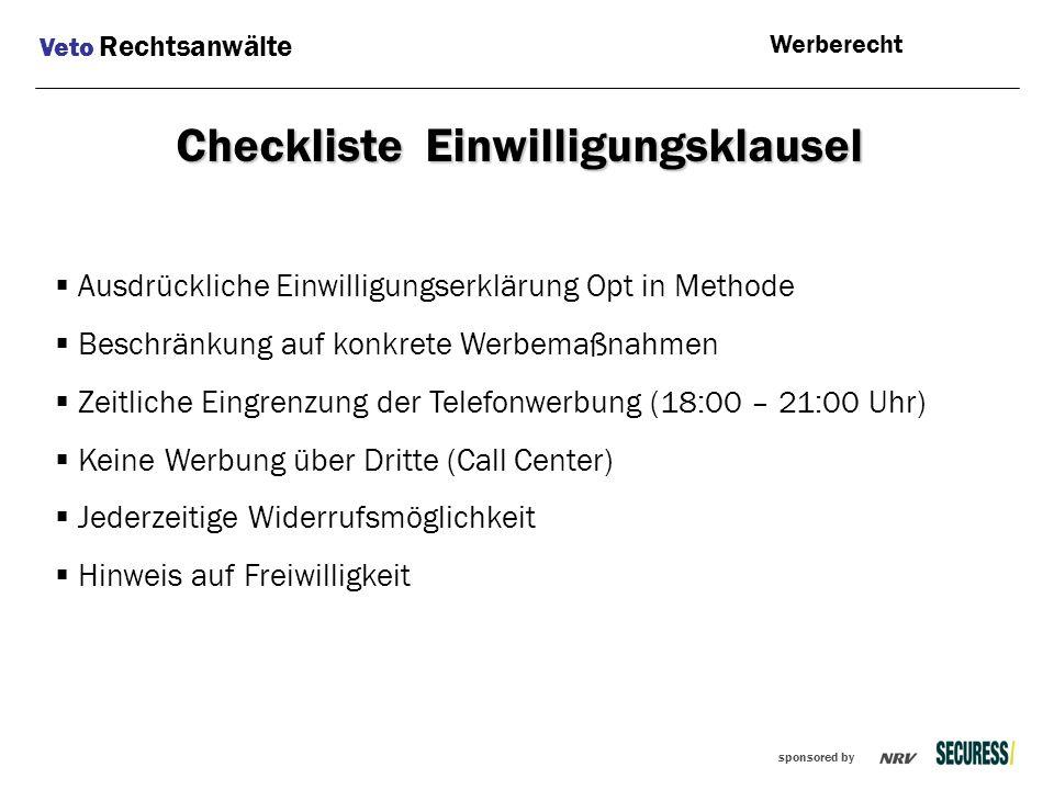 Checkliste Einwilligungsklausel