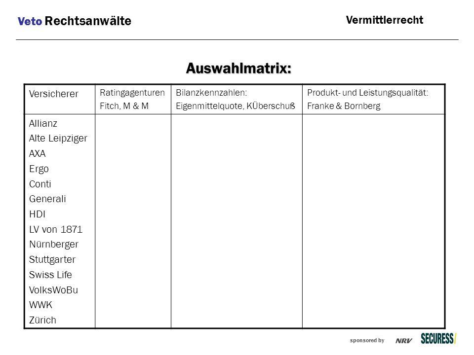 Auswahlmatrix: Veto Rechtsanwälte Vermittlerrecht Versicherer Allianz
