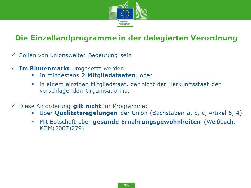 Die Einzellandprogramme in der delegierten Verordnung