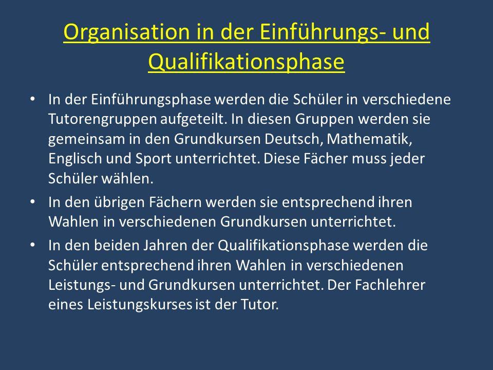 Organisation in der Einführungs- und Qualifikationsphase