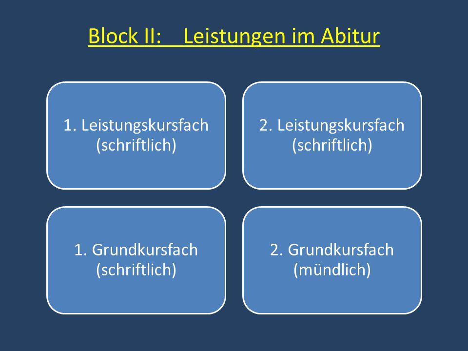 Block II: Leistungen im Abitur