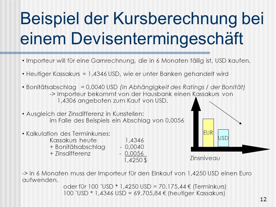 Beispiel der Kursberechnung bei einem Devisentermingeschäft