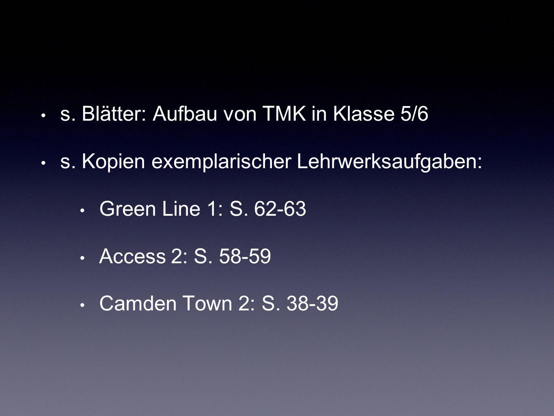 s. Blätter: Aufbau von TMK in Klasse 5/6