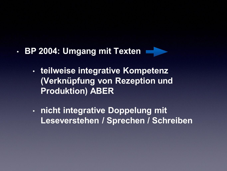 BP 2004: Umgang mit Texten teilweise integrative Kompetenz (Verknüpfung von Rezeption und Produktion) ABER.
