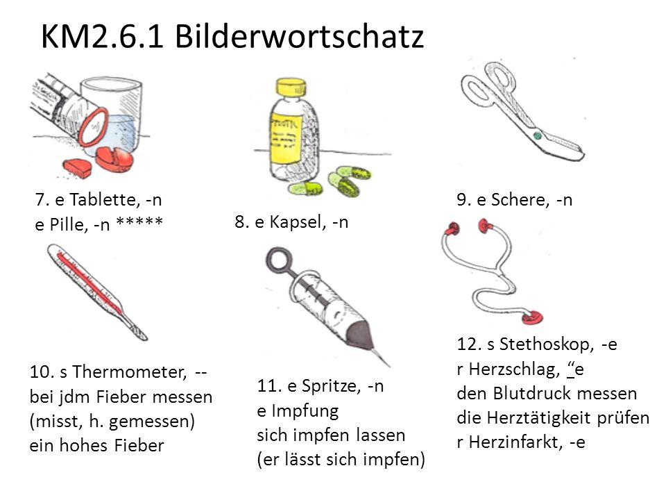 KM2.6.1 Bilderwortschatz 7. e Tablette, -n e Pille, -n *****