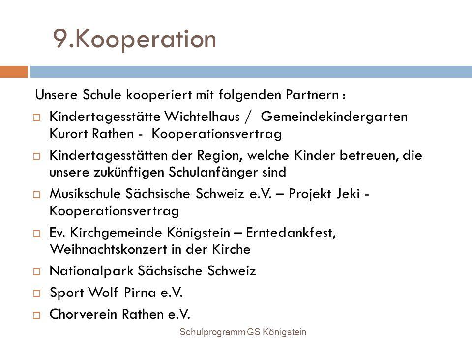 9.Kooperation Unsere Schule kooperiert mit folgenden Partnern :