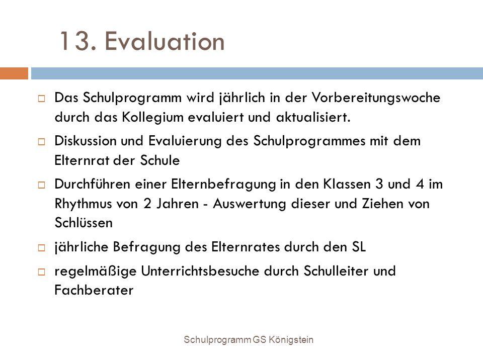 13. Evaluation Das Schulprogramm wird jährlich in der Vorbereitungswoche durch das Kollegium evaluiert und aktualisiert.