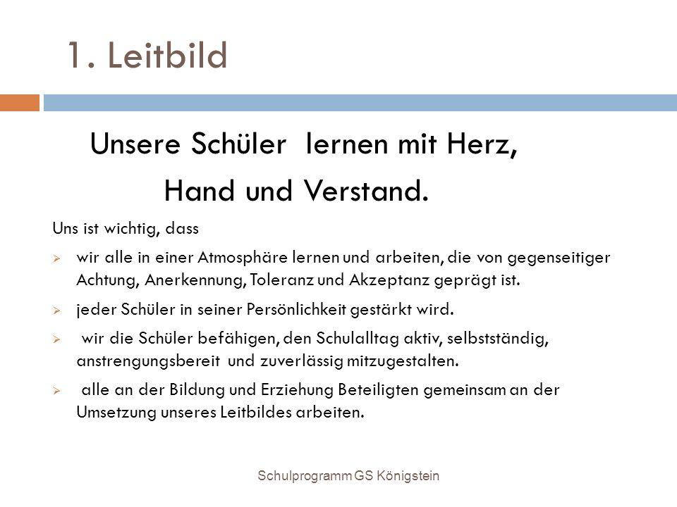 1. Leitbild Hand und Verstand. Unsere Schüler lernen mit Herz,