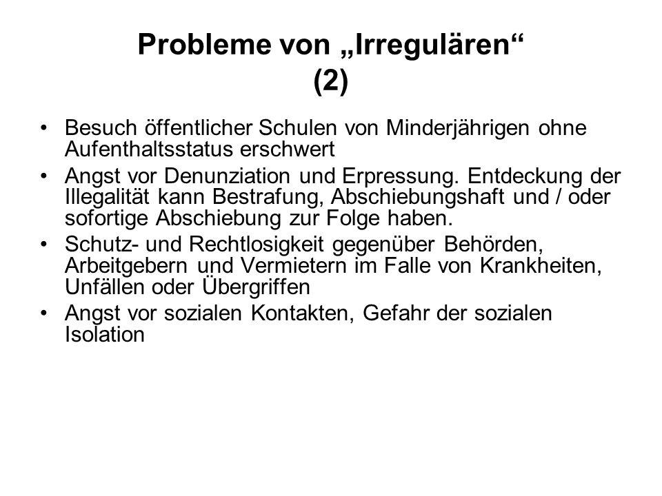 """Probleme von """"Irregulären (2)"""