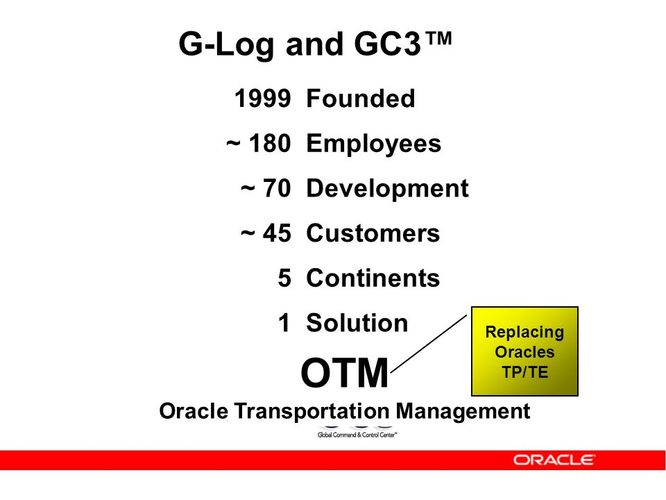 Replacing Oracles TP/TE OTM Oracle Transportation Management