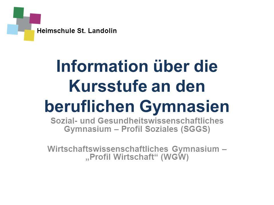 Information über die Kursstufe an den beruflichen Gymnasien