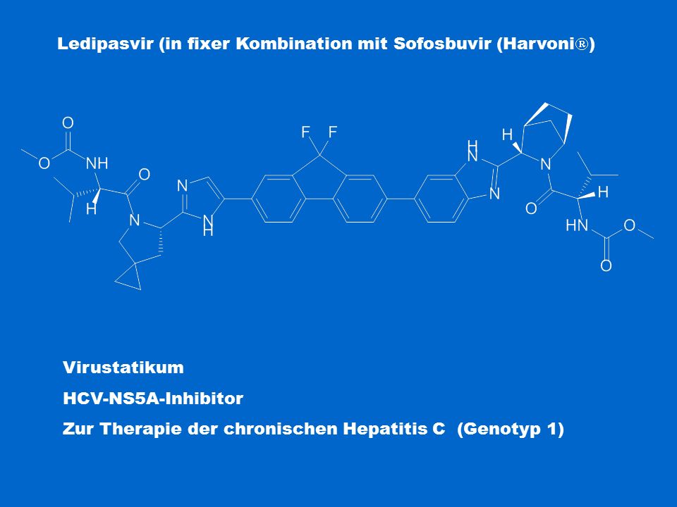 Ledipasvir (in fixer Kombination mit Sofosbuvir (Harvoni)