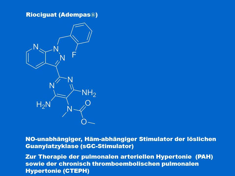 Riociguat (Adempas) Fingolimod. NO-unabhängiger, Häm-abhängiger Stimulator der löslichen Guanylatzyklase (sGC-Stimulator)