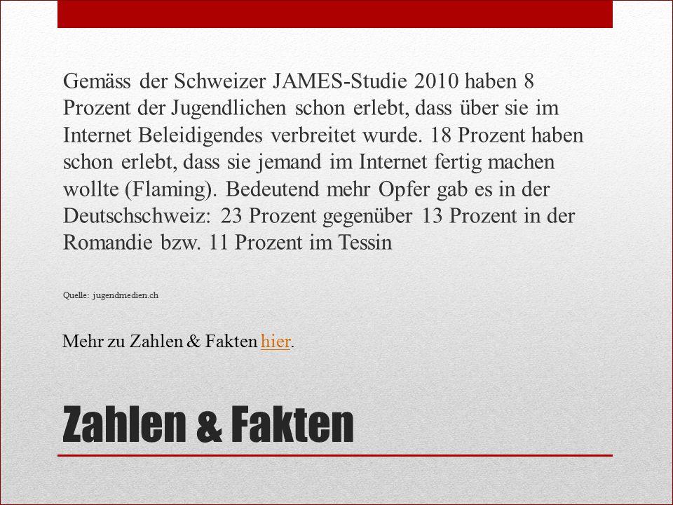 Gemäss der Schweizer JAMES-Studie 2010 haben 8 Prozent der Jugendlichen schon erlebt, dass über sie im Internet Beleidigendes verbreitet wurde. 18 Prozent haben schon erlebt, dass sie jemand im Internet fertig machen wollte (Flaming). Bedeutend mehr Opfer gab es in der Deutschschweiz: 23 Prozent gegenüber 13 Prozent in der Romandie bzw. 11 Prozent im Tessin