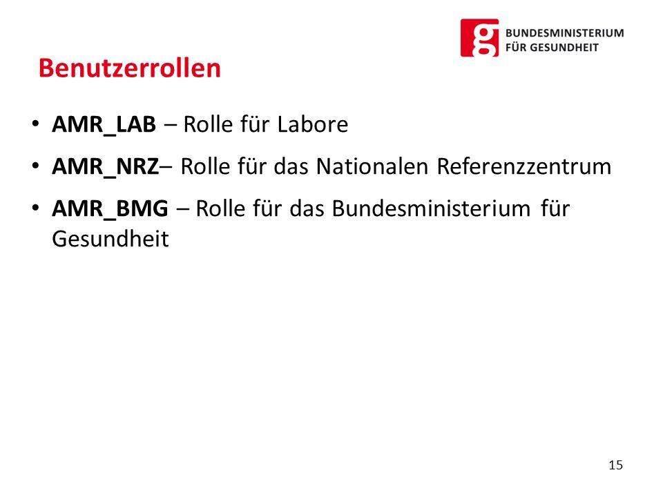Benutzerrollen AMR_LAB – Rolle für Labore
