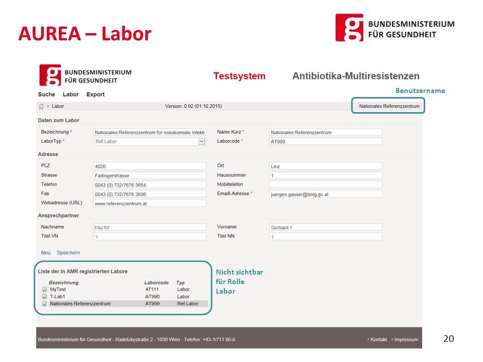 AUREA – Labor Benutzername Nicht sichtbar für Rolle Labor