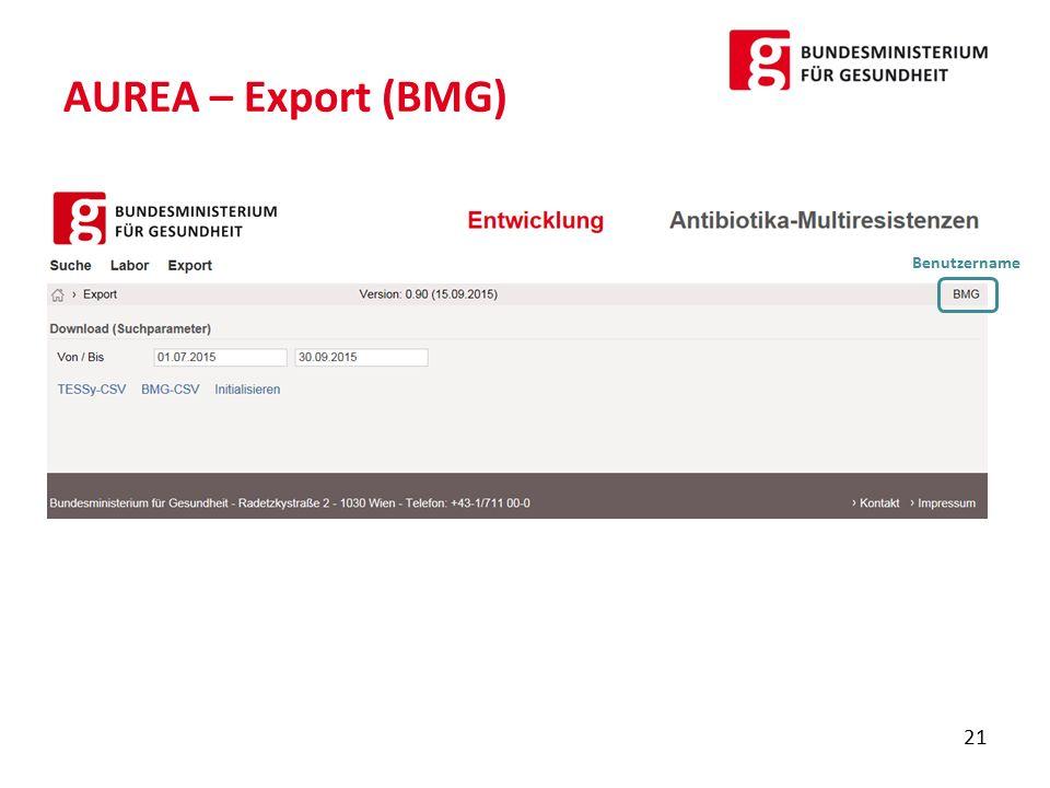 AUREA – Export (BMG) Benutzername