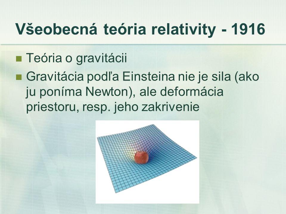 Všeobecná teória relativity - 1916