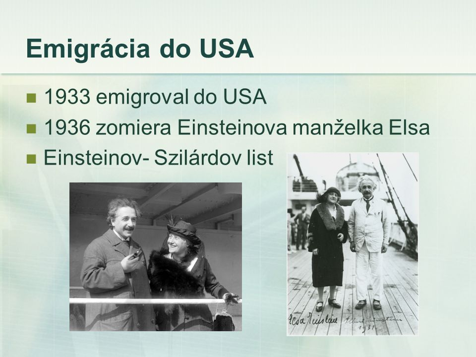 Emigrácia do USA 1933 emigroval do USA