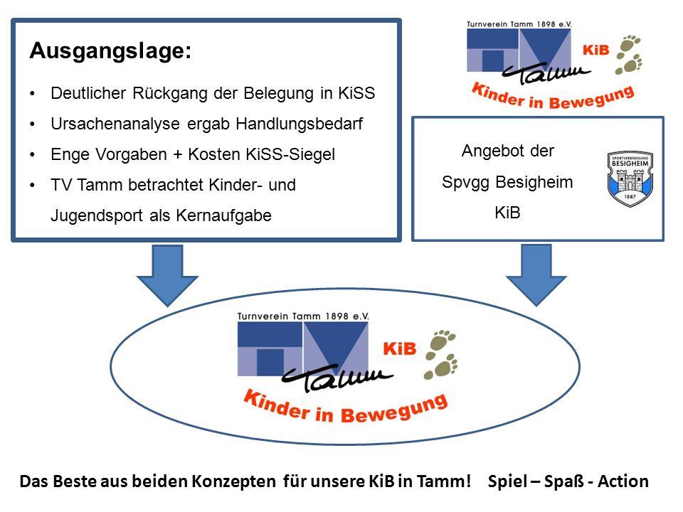 Ausgangslage: Deutlicher Rückgang der Belegung in KiSS. Ursachenanalyse ergab Handlungsbedarf. Enge Vorgaben + Kosten KiSS-Siegel.