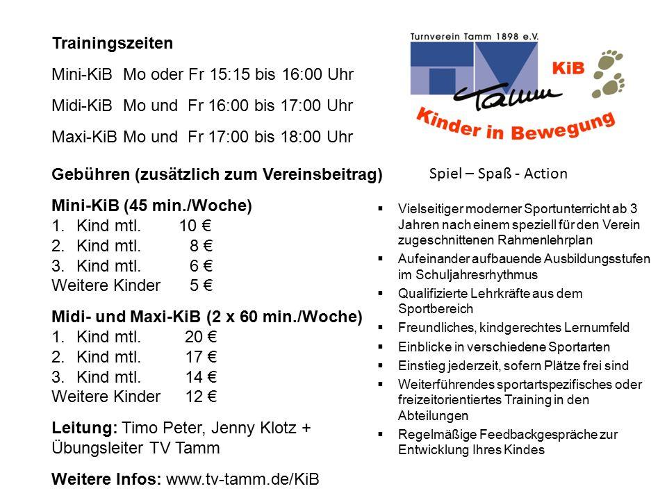 Mini-KiB Mo oder Fr 15:15 bis 16:00 Uhr