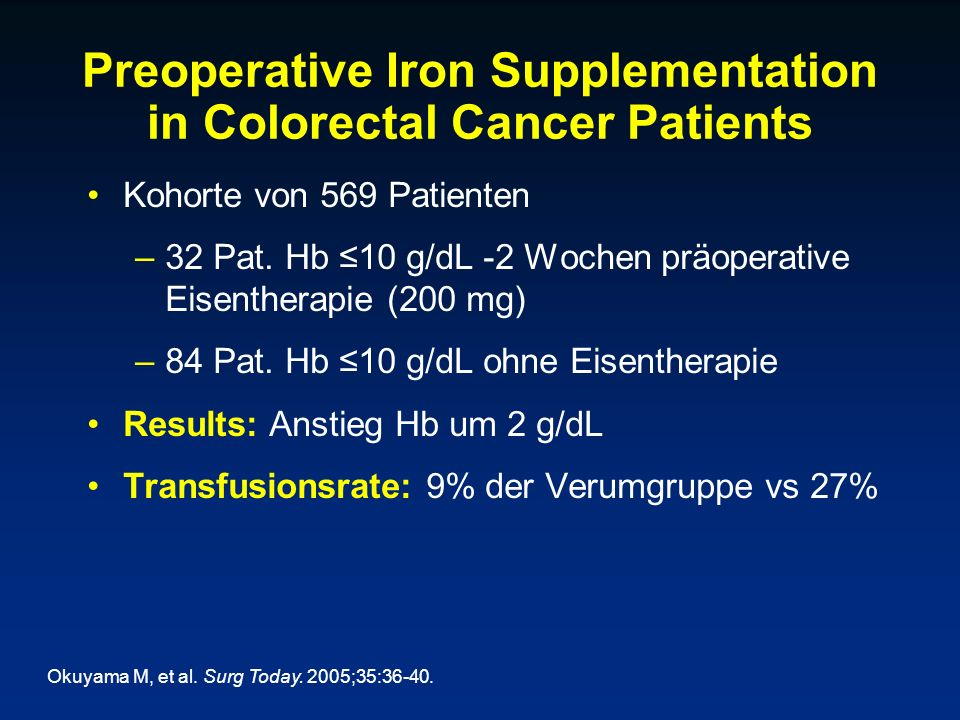 Preoperative Iron Supplementation in Colorectal Cancer Patients