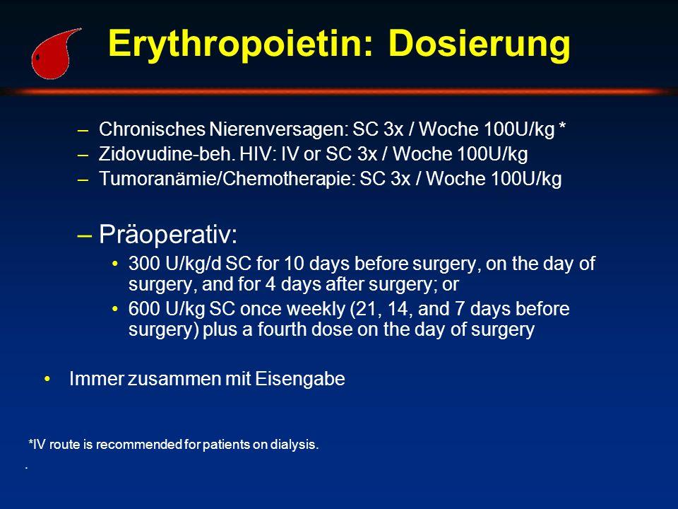 Erythropoietin: Dosierung