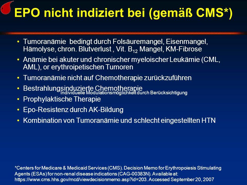 EPO nicht indiziert bei (gemäß CMS*)
