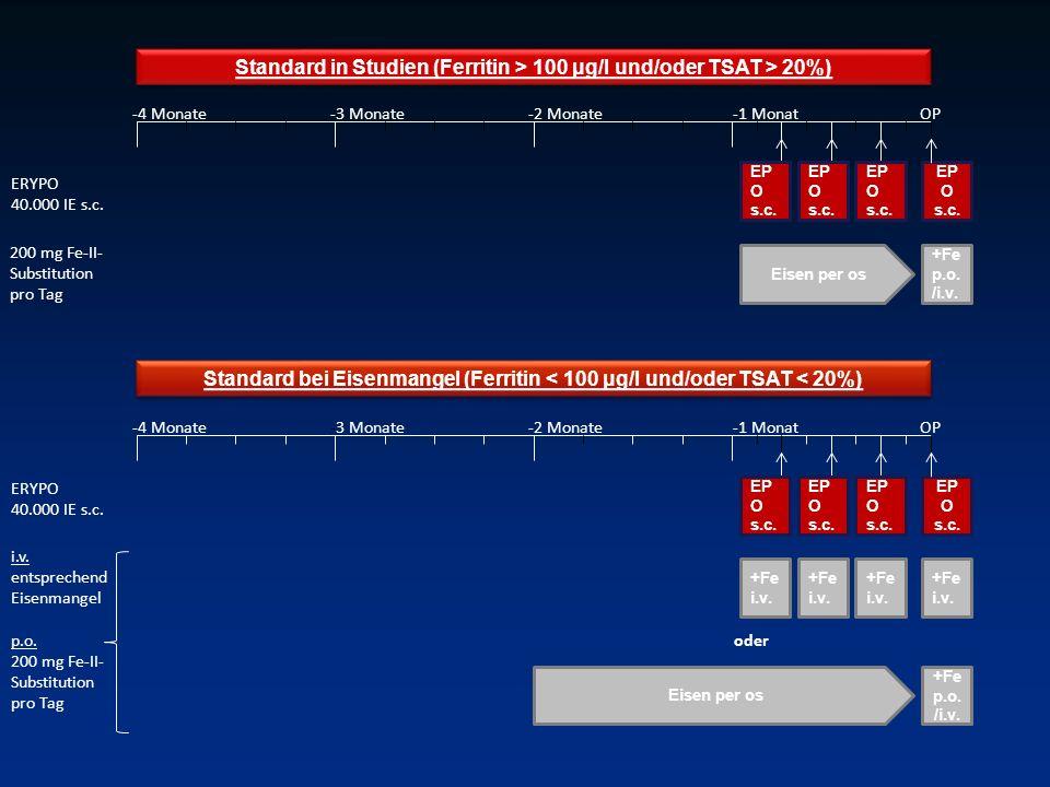 Standard in Studien (Ferritin > 100 μg/l und/oder TSAT > 20%)