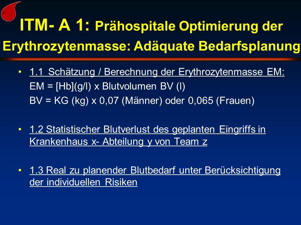 ITM- A 1: Prähospitale Optimierung der Erythrozytenmasse: Adäquate Bedarfsplanung