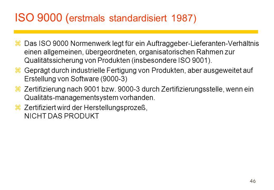 ISO 9000 (erstmals standardisiert 1987)