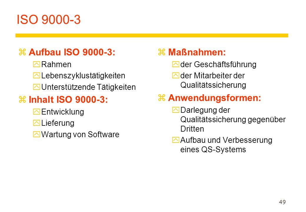 ISO 9000-3 Aufbau ISO 9000-3: Inhalt ISO 9000-3: Maßnahmen: