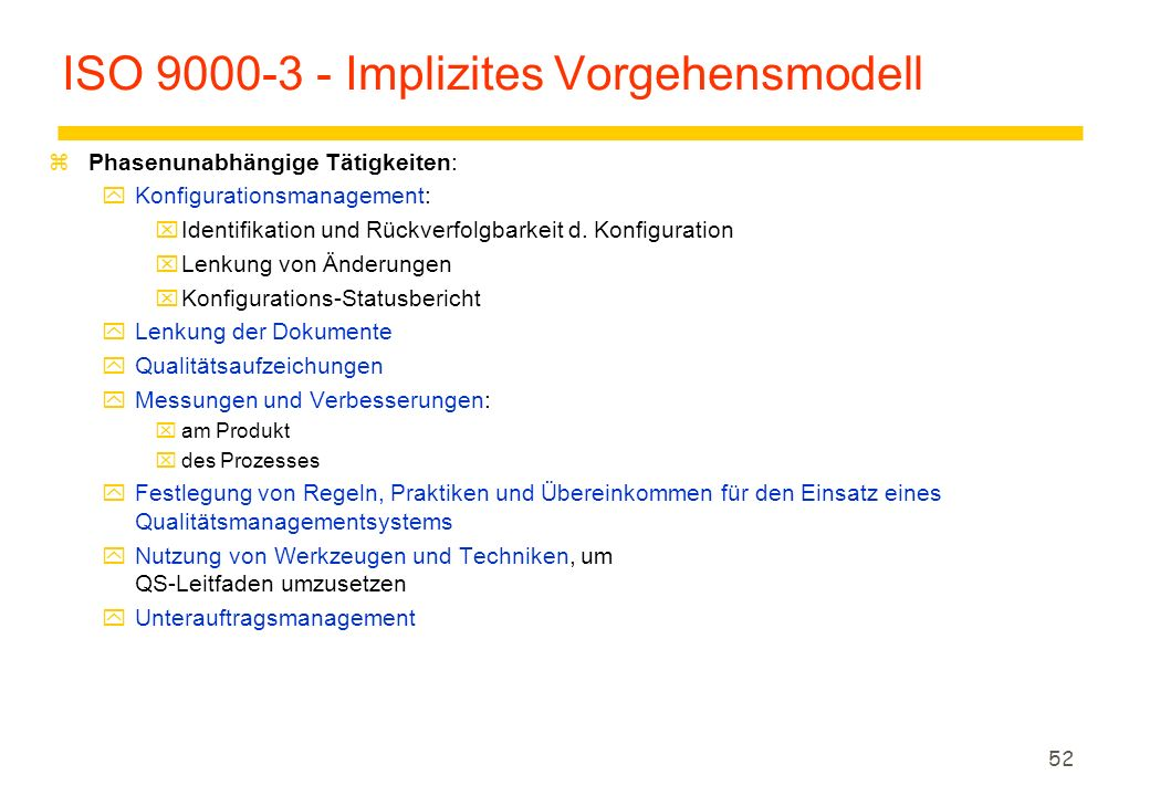 ISO 9000-3 - Implizites Vorgehensmodell