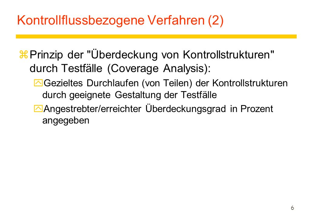 Kontrollflussbezogene Verfahren (2)