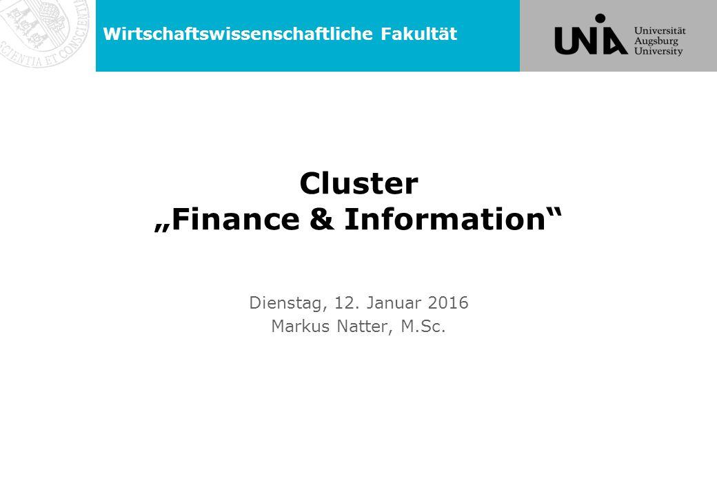 """Cluster """"Finance & Information"""