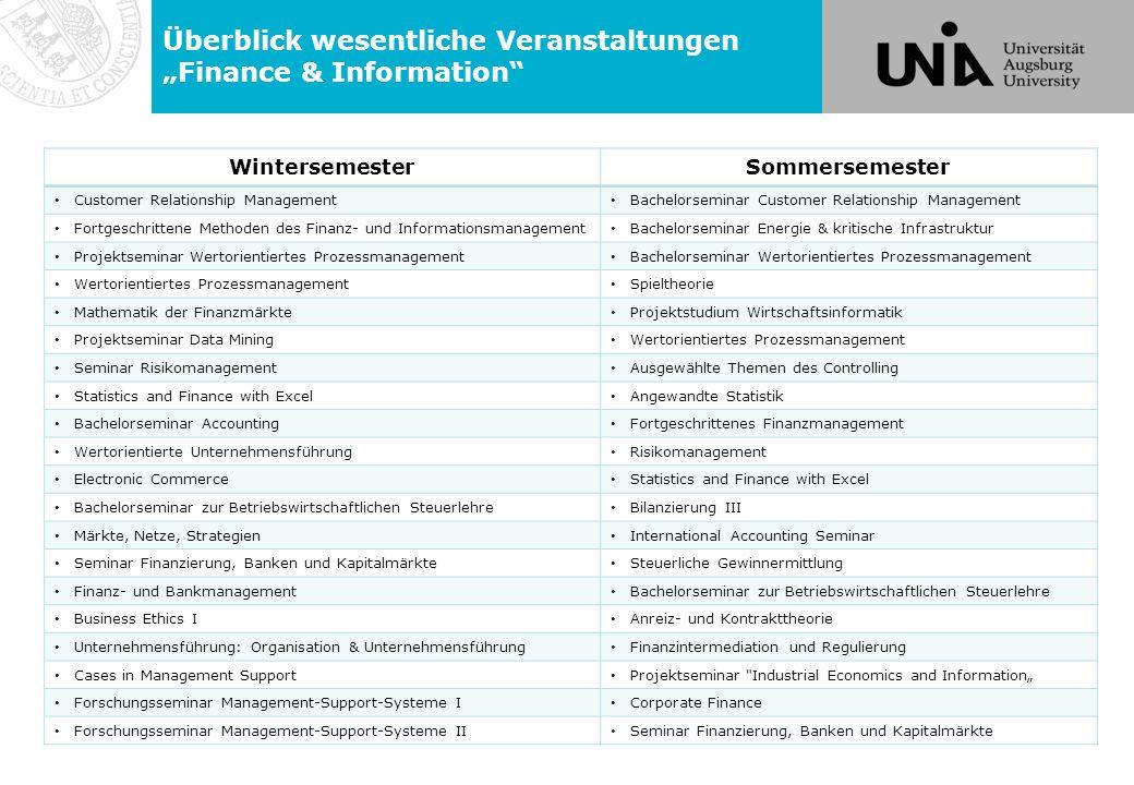 """Überblick wesentliche Veranstaltungen """"Finance & Information"""