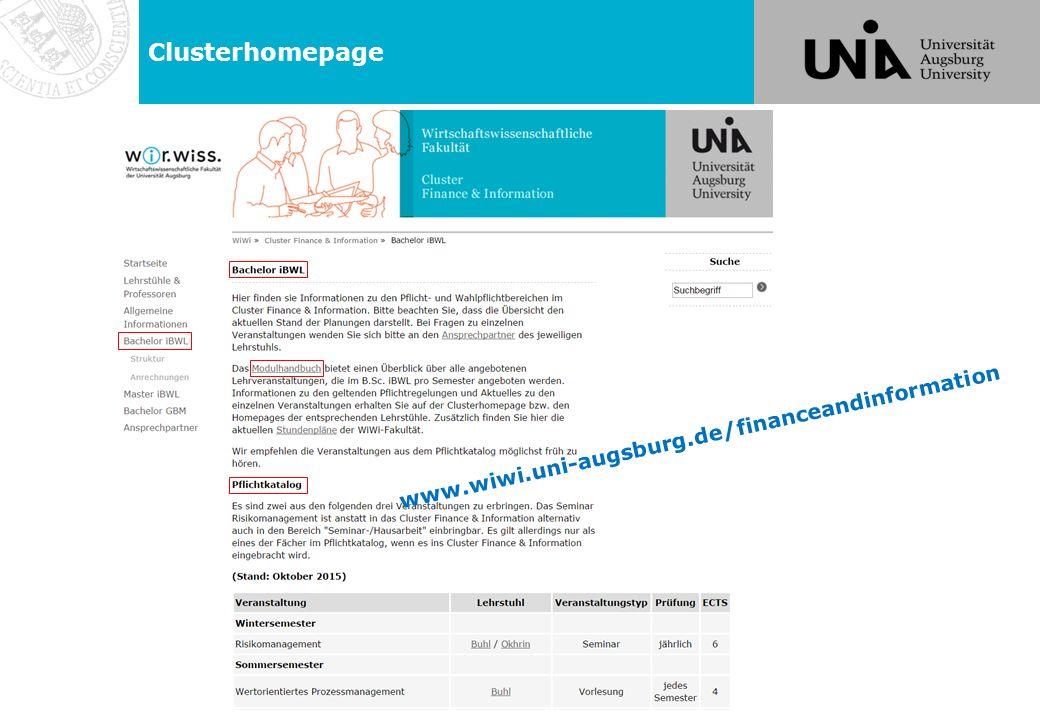 Clusterhomepage www.wiwi.uni-augsburg.de/financeandinformation nur MA